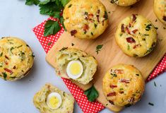 Savory Muffins with Cheese and Bacon, Freshly Baked Tasty Snack. On Bright Background stock image