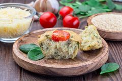 Free Savory Muffins With Quinoa, Cheese And Spinach Topped With Tomato, On Wooden Plate, Horizontal Stock Photos - 161623693