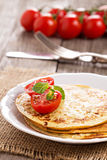 Savory pancakes with tomatoes Royalty Free Stock Photo