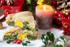 Savory Pie With Christmas Decorations Stock Photo