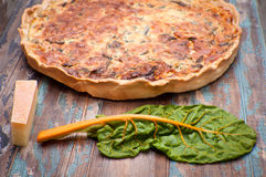Savory Pie. Savoury tart or pie made with chard and compte cheese Royalty Free Stock Photography