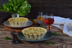 Savory Pie Tart With Spring Greens, Meat, Cheese, Onion Leek And Pepper. Chard Quiche For Dinner Or Lanch On Wooden Background. Co Royalty Free Stock Photo