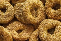 Savory roll covered with sesame seed Turkish simit Stock Image