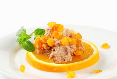 Savory spread with orange Stock Images