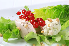 Savory spreads. On lettuce leaves sprinkled with pine nuts Stock Photos