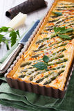 Savory tart with pecorino and bacon Royalty Free Stock Photo
