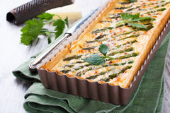 Savory tart with pecorino and bacon Royalty Free Stock Photos
