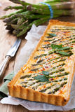 Savory tart with pecorino and bacon Stock Photos