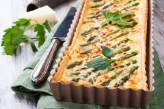Savory tart with pecorino and bacon Stock Photography