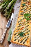 Savory tart with pecorino and bacon Royalty Free Stock Images