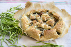 Savory tart stuffed with vegetables on baking parchment Royalty Free Stock Photos