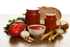 Savory tomato, garlic and horseradish Stock Image
