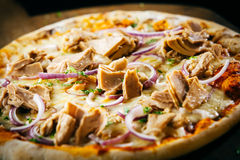 Savory tuna pizza with herbs and onions Stock Photos