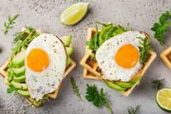 Savory waffles with avocado, arugula and fried egg for breakfast stock photos