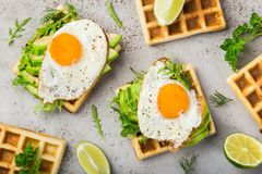 Savory waffles with avocado, arugula and fried egg for breakfast stock image