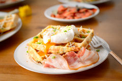 Savory waffles with bacon, egg and cheese Stock Photography
