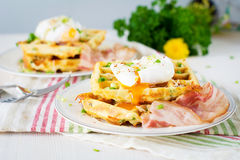 Savory waffles with bacon, egg and cheese Royalty Free Stock Image