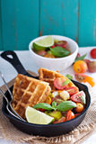 Savory waffles with cheese and cornmeal Royalty Free Stock Image