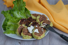 Savory Zucchini Fritters Royalty Free Stock Photos
