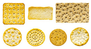 Savoury Biscuit and Cracker Selection. Selection of seven savoury biscuits and crackers on an isolated white background Stock Photography