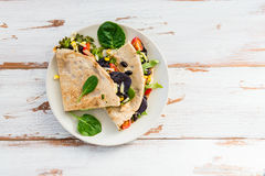 Savoury Buckwheat Pancake or Quesadilla Stock Images