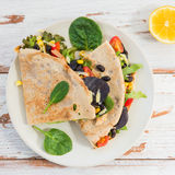 Savoury Buckwheat Pancake or Quesadilla Stock Photos