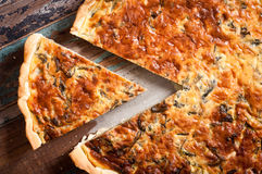 Savoury cheese pie. Savoury tart or pie made with chard and compte cheese Royalty Free Stock Images
