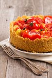 Savoury cheesecake with tomatoes Royalty Free Stock Images