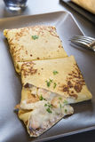Savoury crepe. Delicious savoury crepe with shrimps Stock Image
