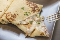 Savoury crepe. Delicious savoury crepe with shrimps Royalty Free Stock Photo