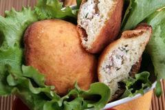 Savoury doughnuts with ham & herbs, close-up stock photography