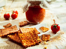Savoury Italian crackers with preserve Royalty Free Stock Images