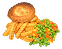 Savoury Meat Pie And Chips Meal Stock Images