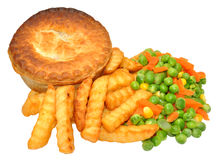 Savoury Meat Pie And Chips Meal Stock Photo