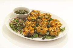 Savoury muffins. Mini savoury muffins with cheese and dipping sauce Stock Photo
