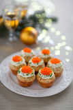 Savoury muffins with salmon and caviar. Savoury muffins with salmon, caviar and cream cheese royalty free stock photo