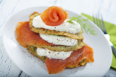 Savoury pancake with salmon and yoghurt. Savoury zucchini pancake with smoked salmon and a yoghurt topping Royalty Free Stock Photo