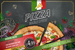 Savoury pizza ads. With 3d illustration rich toppings dough on engraved style chalk doodle background royalty free illustration