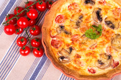 Savoury quiche with tomatoes Royalty Free Stock Images