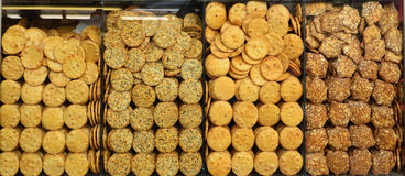 Savoury round crackers biscuits Royalty Free Stock Photography