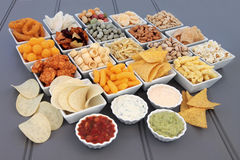 Savoury Snack and Dip Selection Stock Photo