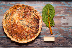 Savoury Tart. Or pie made with chard and compte cheese Royalty Free Stock Image