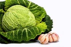 savoy головки чеснока капусты Стоковое фото RF