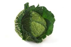 Savoy. Fresh, raw savoy cabbage on a white background Royalty Free Stock Images
