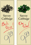 Savoy Cabbage. Two Price Tags with Vintage Effect Royalty Free Stock Photography