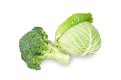 Savoy Cabbage and broccoli Stock Photo