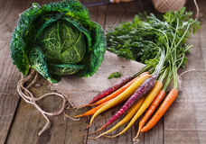 Savoy cabbage and colored carrots over rustic wooden background Stock Photos