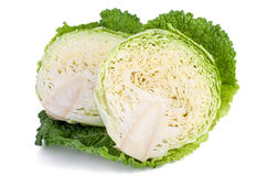 Savoy cabbage cutted on half Stock Image