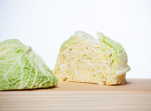 Savoy cabbage head cut in half Royalty Free Stock Images