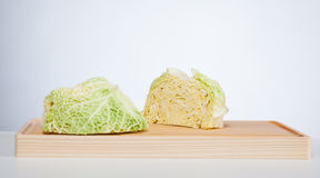 Savoy cabbage head cut in half Stock Photography